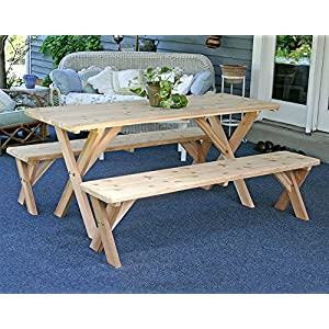Red Cedar 27In Picnic Table w/ Detached Bench 4Ft