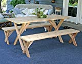 Creekvine Designs Red Cedar 27'' Wide 8' Backyard Bash Cross Legged Picnic Table with Detached Benches