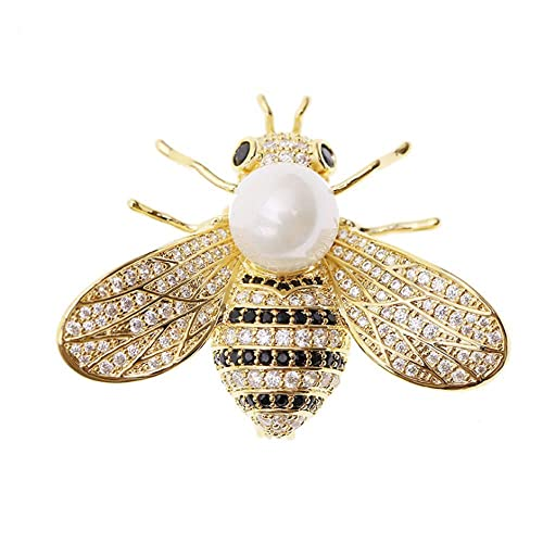 32a7cea350b Tulip LY Honey Bee Brooches Crystal Insect Themed Bee Brooch Animal Fashion  Shell Pearl Brooch Pin Gold Tone (White Pearl): Amazon.ca: Jewelry