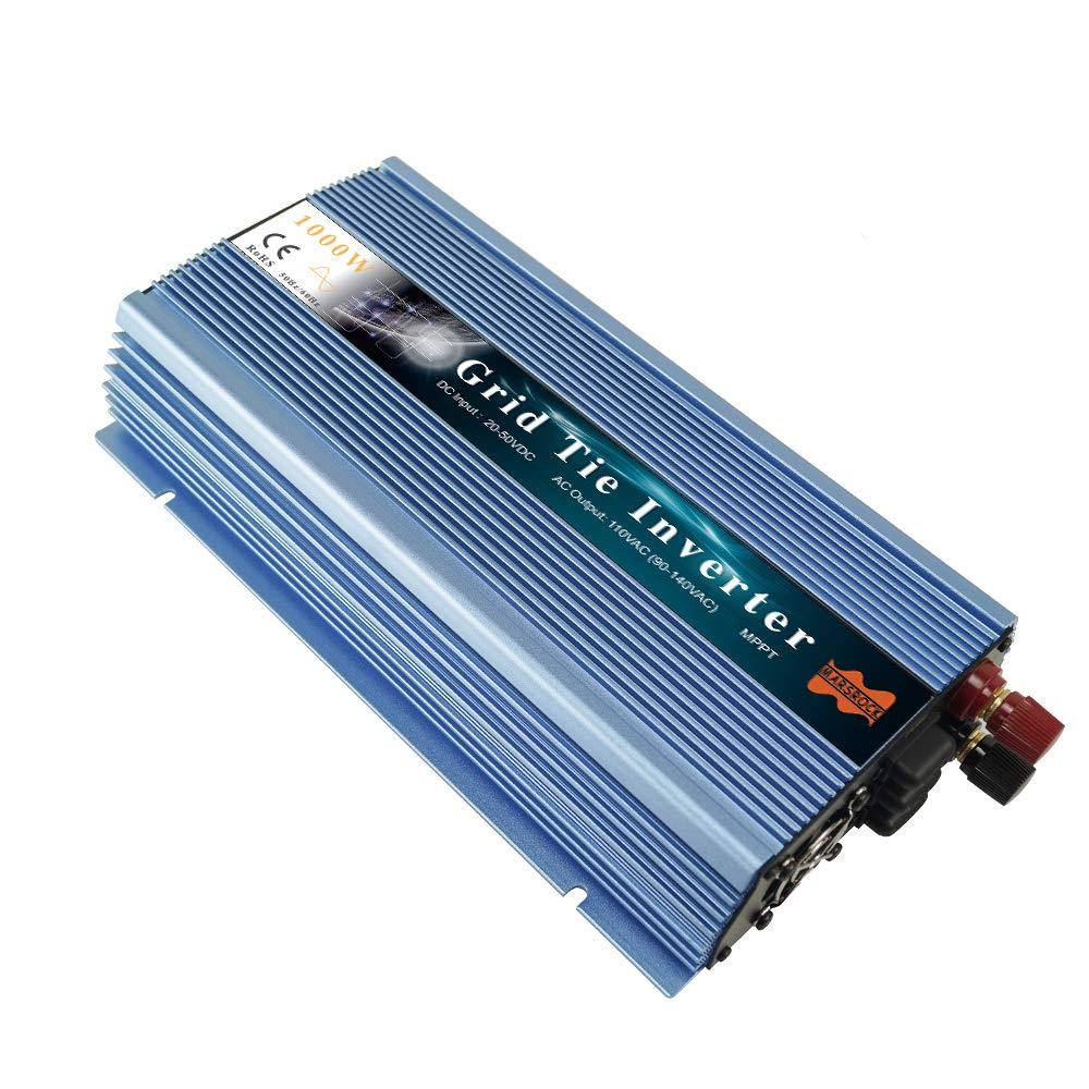 Marsrock 1000W Grid Tie Solar Inverter, 20-50V DC to AC 120V/220V Pure Sine Wave Inverter for 1000-1200W 24V, 30V, 36V PV Module or Wind Turbine (AC120V Blue) by Marsrock