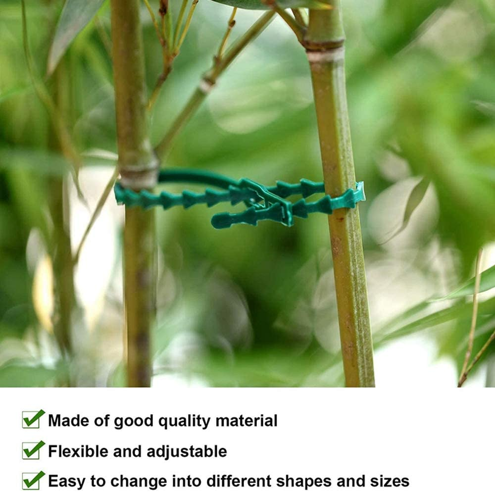 JTWEB 200PCS Adjustable Plant Ties Flexible Garden Plastic Twist Ties Green Multi-Function Sturdy Plant and Shrub Ties for Home and Office