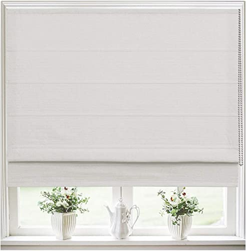 Roman Shades Window Blinds, Beige White Lined Blackout Window Shades, Fabric Custom Corded Roman Shades for Home, Window, French Door, Kitchen