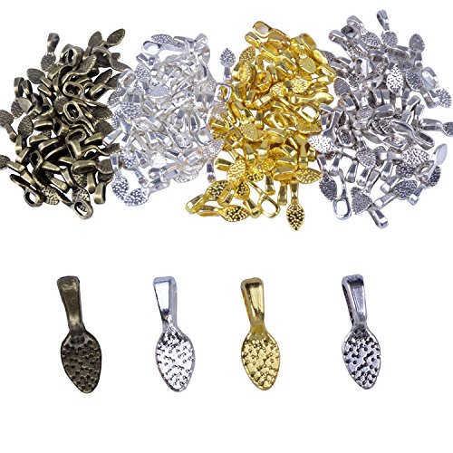 BronaGrand 200Pcs Spoon Glue on Bails for Earrings Pendants Charms Jewelry Making Crafting Mixed 4 Colors