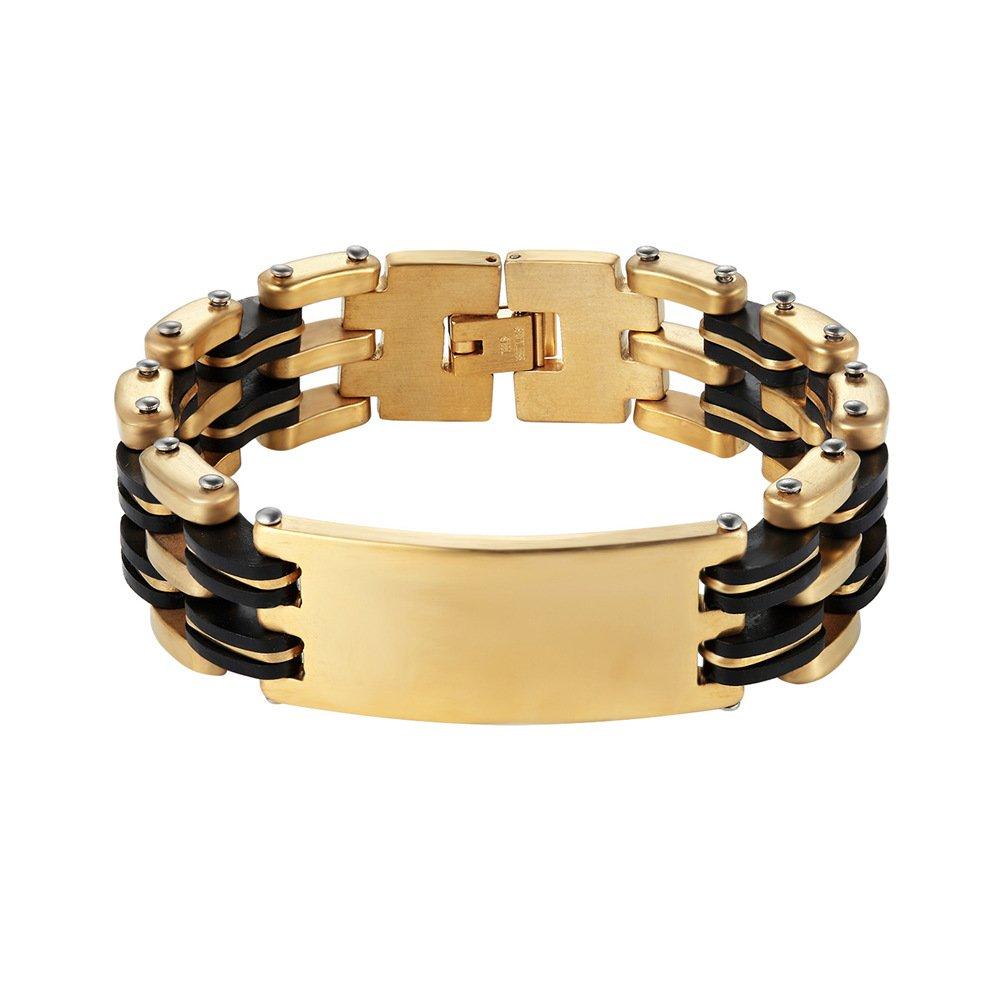 Men Bracelet, ID Bracelet, Big Wide, Link Bracelet, Gift for Him, Husband, Fathers Day, Groom, Groomsmen PROSTEEL Jewelry CA-PSH2746G-19