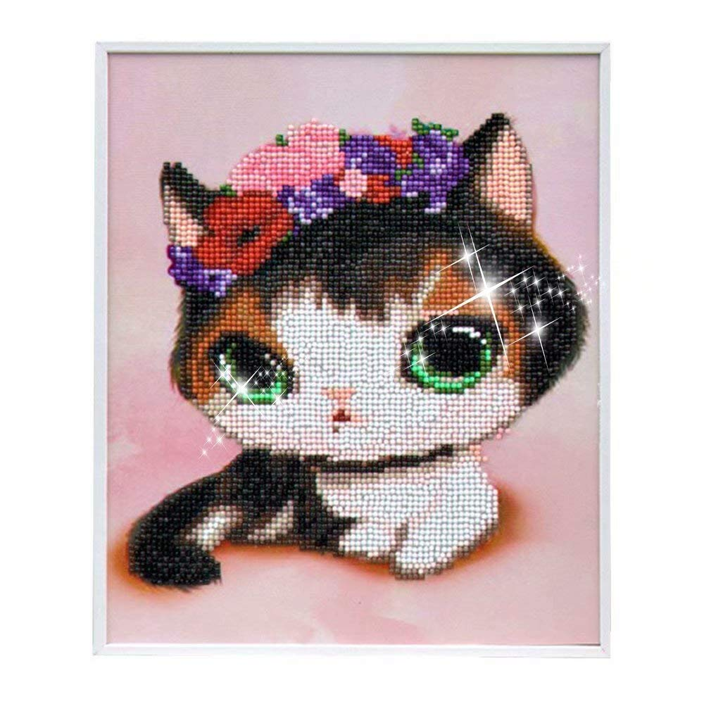 qiaoniuniu Diamond Painting for kidsPainting by Number Kits Arts Crafts Supply Set Rhinestone Mosaic Making for Home Wall Decor Best Gifts for Christmas Birthday Mothers Day New Year-Include Frame