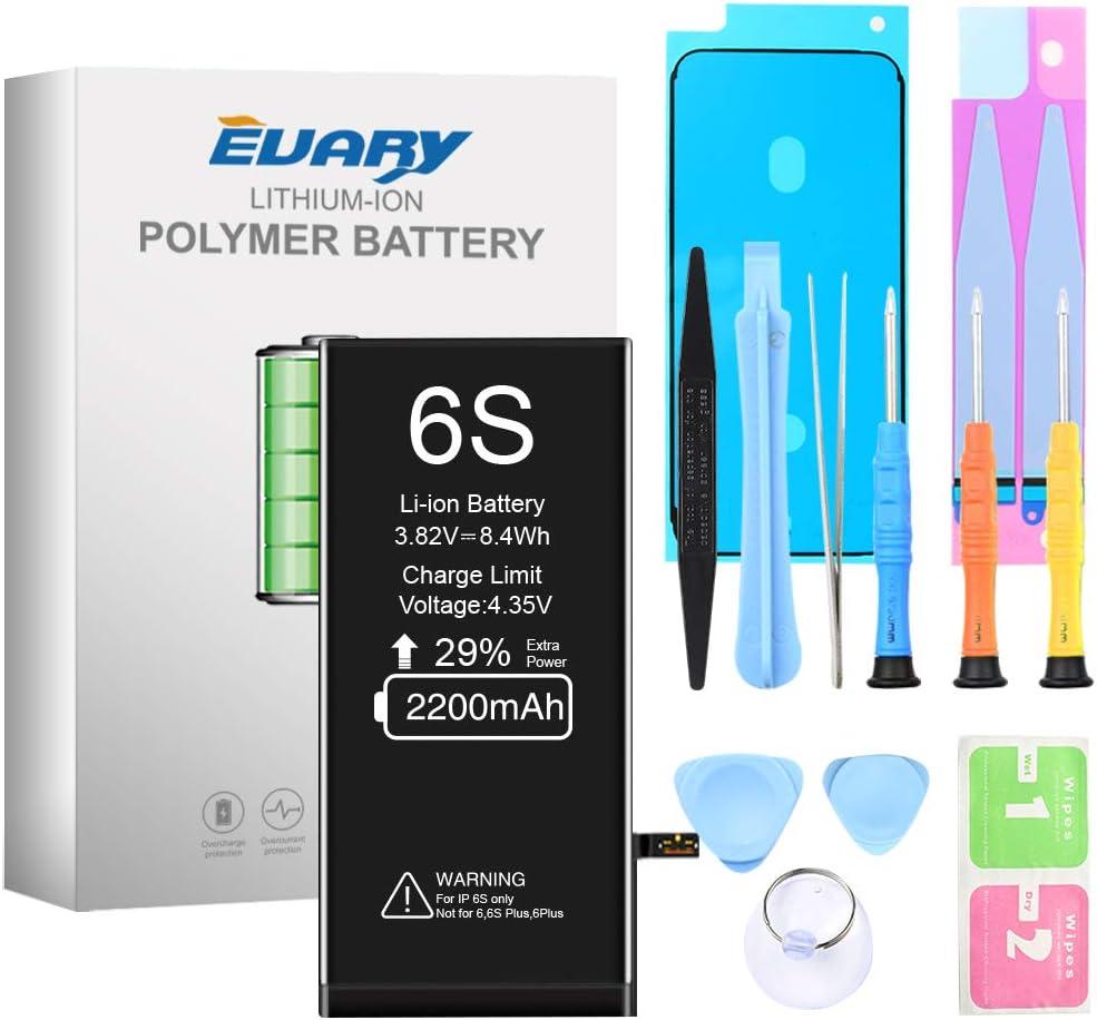 EVARY Batería de 2200 mAh para iPhone 6S ,Reemplazo con una Mayor Capacidad Que Otras baterías, y Herramientas Completas de reparación Profesional, Instrucción, 2 año de Garantía