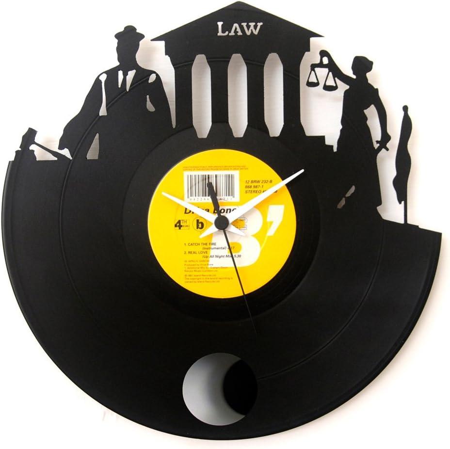 Reloj Abogado, el regalo perfecto para un recien graduado en Derecho , reloj péndulo de vinilo negro, Vinyluse original