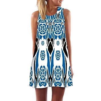 64fce986ceb Women s Short Dress,Freesa Blue Casual Beach Vintage Fashion Short Mini  Dress A-line