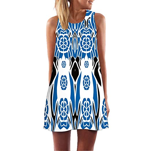 d5d627e07d4 URIBAKE 2019 Women Summer Short Dress Sleveless Blue Bohemian Print Casual  Beach Vintage Mini Dress at Amazon Women s Clothing store