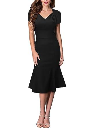 KAXIDY Womens V-Neck Vintage Short Sleeve Pencil Dresses Evening Dress Prom Slim Dress (