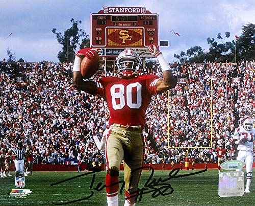 Jerry Rice Autographed 8x10 Photo - Jerry Rice Signed Autographed San Francisco 49ers Touchdown 8x10 Photo TRISTAR COA