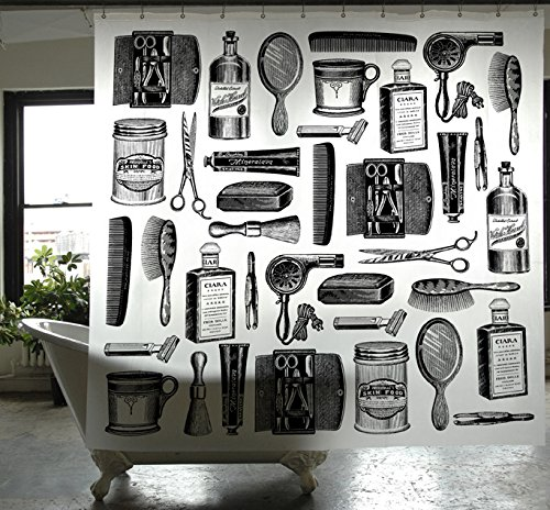 Izola PEVA Water and Mold Resistant Shower Curtain - Barbershop Pattern