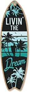 Honey Dew Gifts Livin' The Dream, 5 inch by 16 inch Surfboard, Wood Sign, Tiki Bar Decoration, Beach Themed Decor, Decorative Wall Sign, Home Decor