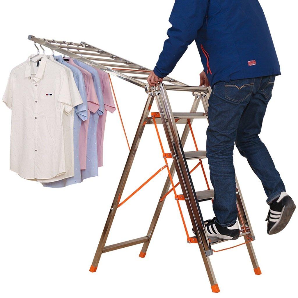 Ladder Folding Drying Rack, 4-Step Pedal Household Ladder, Multifunctional Wing Drying Rack, Stainless Steel-L190cm W50cm 108cm, Load-bearing 150kg