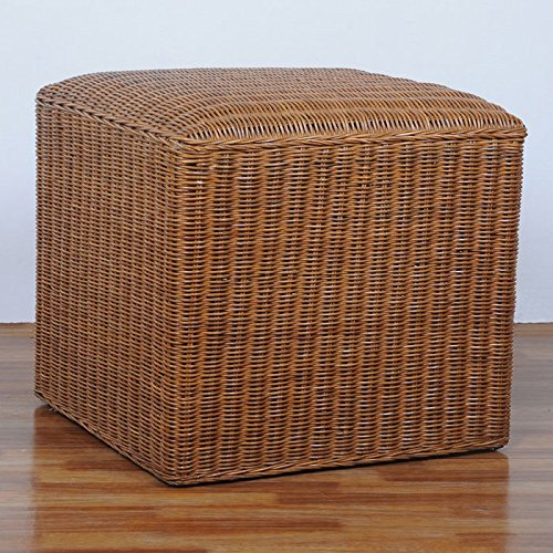 International Caravan SG-3351-IC Furniture Piece Square Rattan Wicker Campbell Ottoman by International Caravan