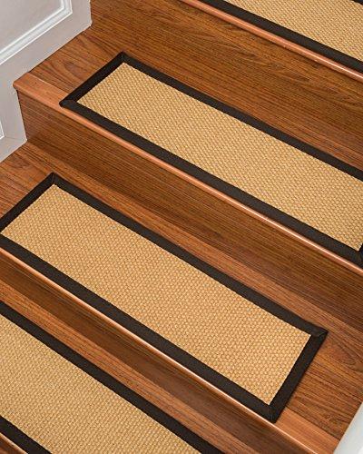 NaturalAreaRugs 100% Natural Fiber Lowell, Sisal Tan, Handmade Stair Treads Carpet Set of 13 (9