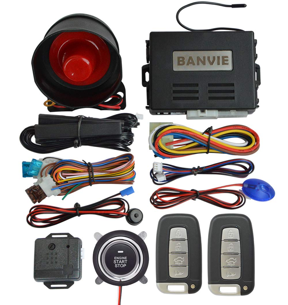 BANVIE PKE Car Alarm System with Remote Engine Start and Push to Engine Start Stop Button and Passive Keyless Entry (PKE + 1-Way Alarm + Remote Starter + Push Start Stop Button) by BANVIE