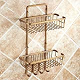 Rack shelf Bathroom Hardware Pendant Copper Bronze Square Double Basket Racks Basket With Hook European Row Hooks