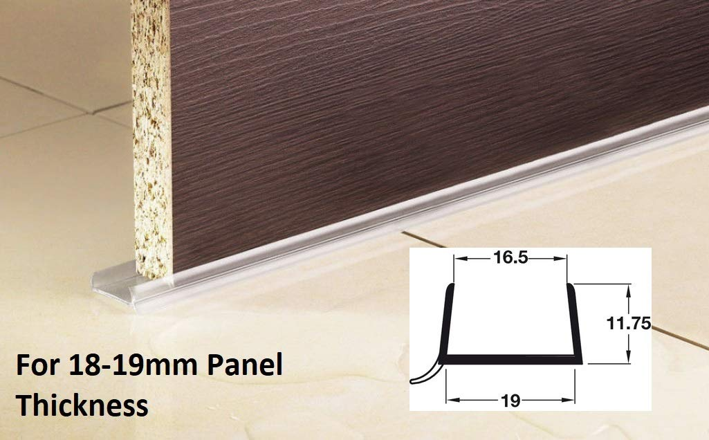 3 x 2M Lengths of Kitchen Plinth Sealing Strip for 18-19mm Panel Thickness Clear Plastic Catches And Latches