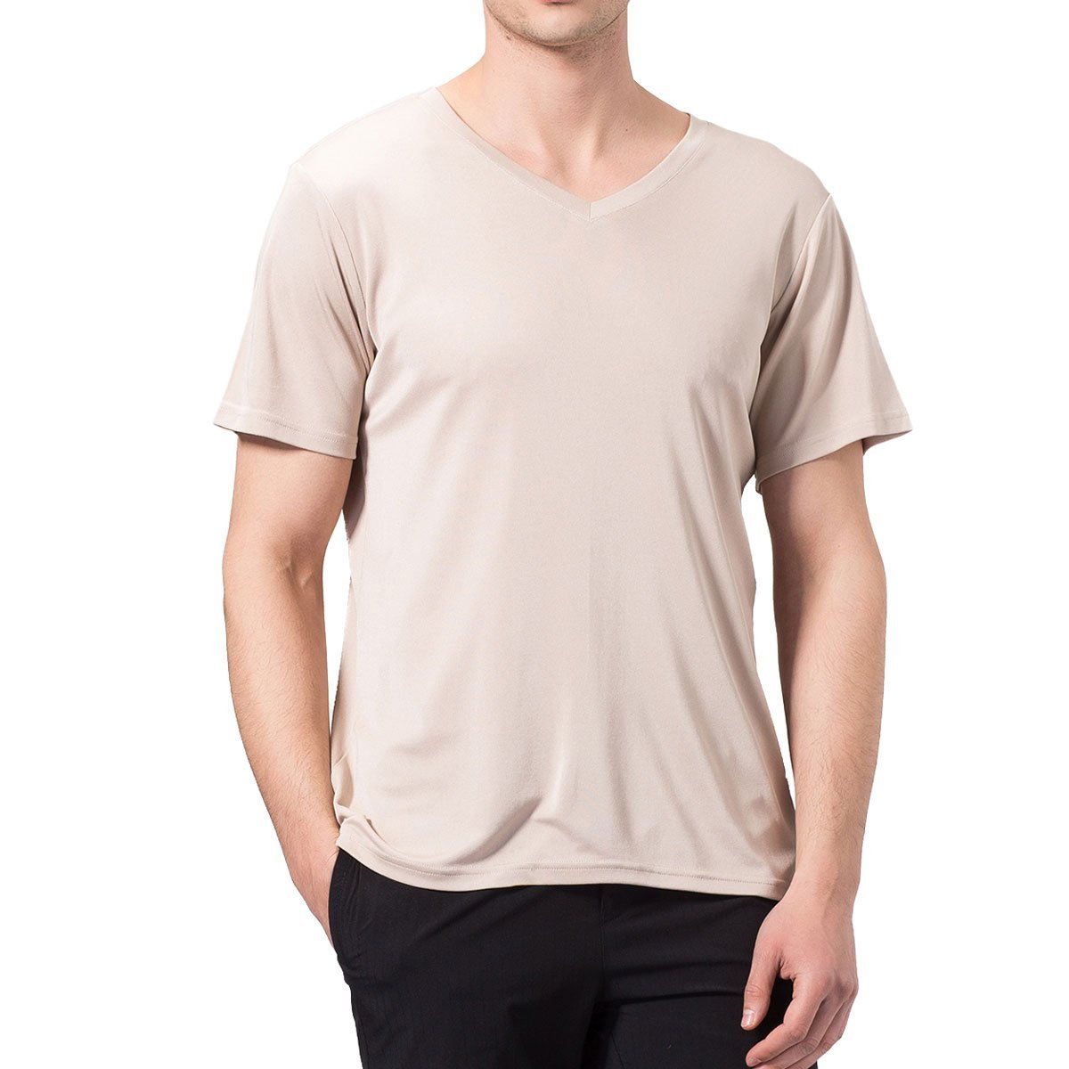 Pure Silk Knitted Mens V neckline Short Sleeves Solid US S M L XL