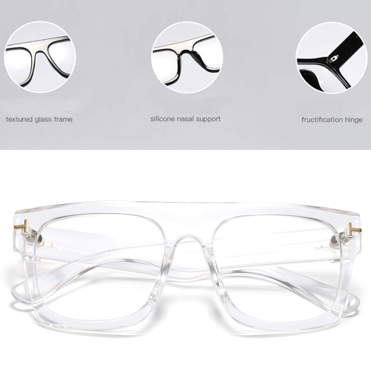 Allt Unisex Large Square Optical Eyewear Non-prescription Eyeglasses Flat Top Clear Lens Glasses Frames