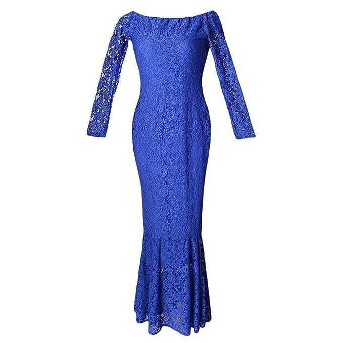 Baosity Vestio Feminia Embarazadas Ropa Maxi Ajustado Elegante Forma Perfecta Accesorios - Azul, 82cm/