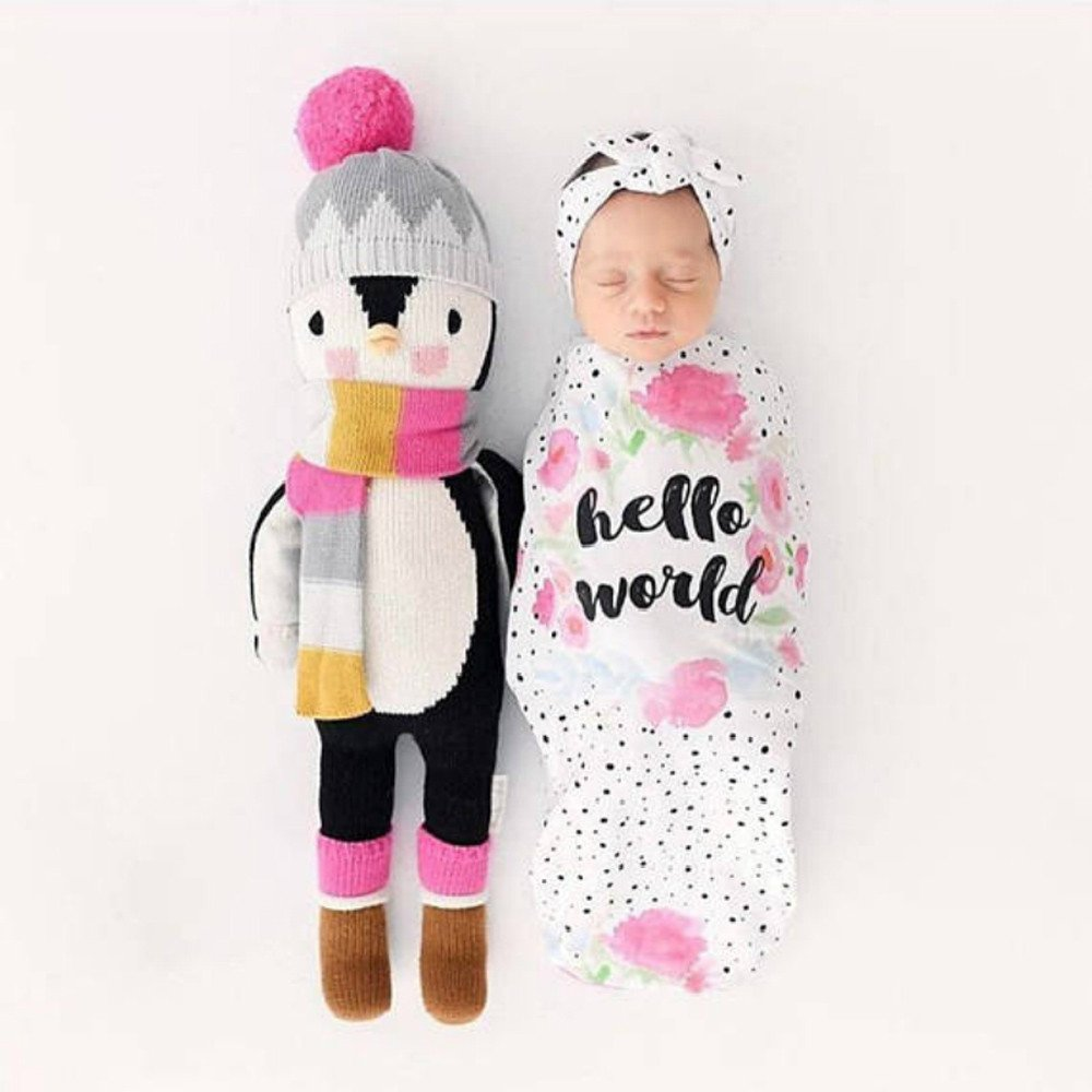 2pcs Newborn Baby Blanket Swaddle Sleeping Bag Stroller Wrap Letter Dot Print Sleep Sack Headbands for Indoor Outdoor (A, 2pcs) by Aritone - Baby Clothes (Image #4)
