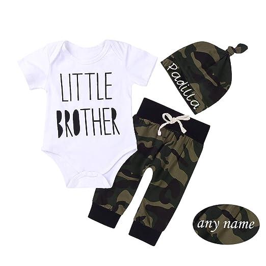 752cdcc5cbdb Amazon.com  3PCS Newborn Baby Boys Cute Little Brother Camouflage ...