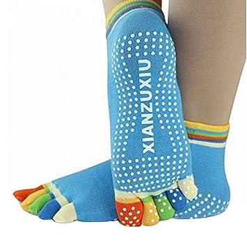 Lmeno Mujeres 5 Toe Colorido Yoga Socks Masaje Pilates ...