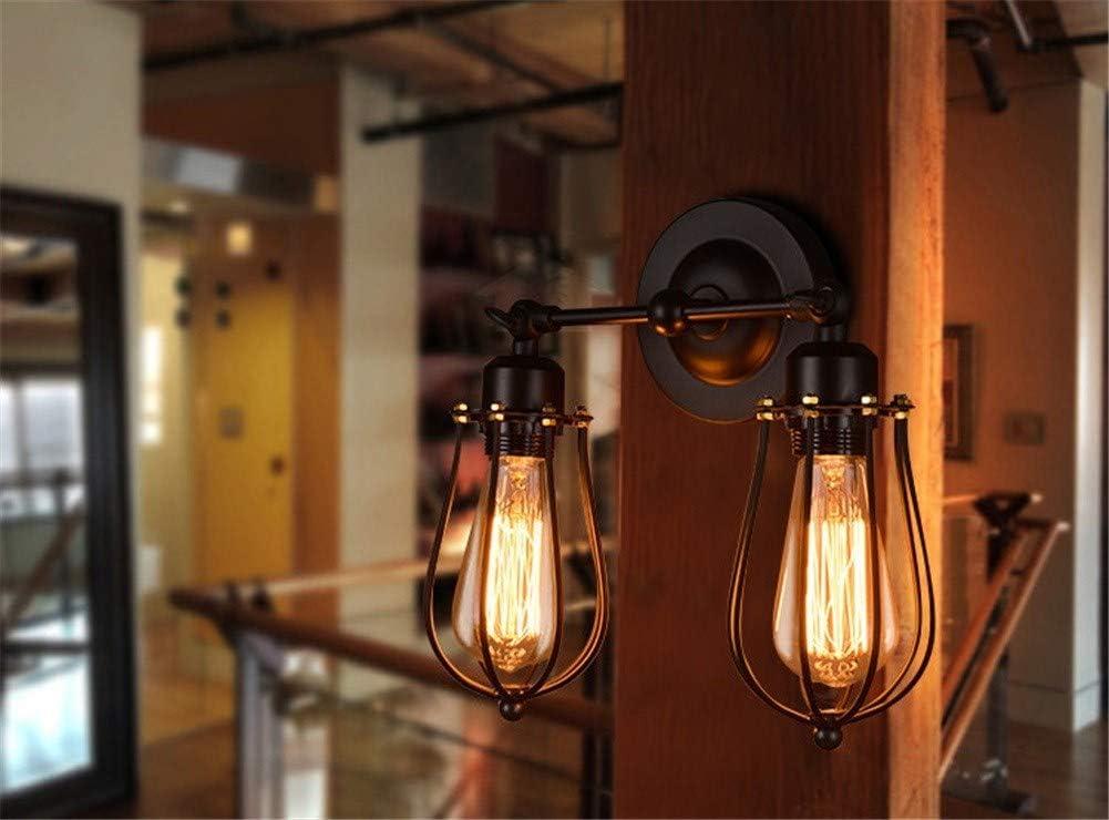 LuckyGGG Lampada da Parete retrò A Doppia Testa di Pompelmo Lampada da Parete A LED in Ferro Battuto Antico Ristorante Corridoio, Single Head Single Head