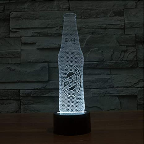 Cerveza Botella Moldura LED 3D Lámpara USB Novedad 3D Luz nocturna ...
