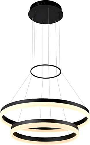 VONN VMC31730BL Tania Duo 24 , Adjustable Suspension Fixture, Modern Two-Tier Circular Chandelier Lighting in Black Integrated LED, 23.75 L x 23.75 W x 120 8.25 H