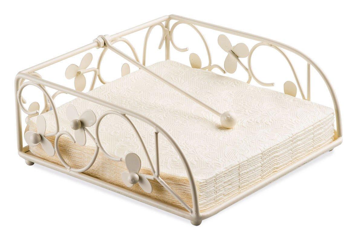 Ambiente Flower Design Napkin Holder, Cream