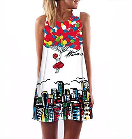 Amazon.com: 2017 Summer women O-neck sleeveless refreshing dresses heart-shaped love printed fashion loose-fitting Vestidos: Clothing