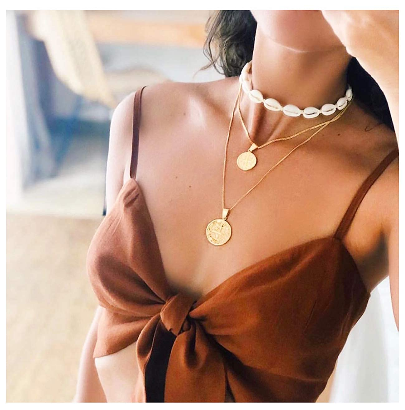 CENAPOG Cowrie Shell Choker Necklace for Women Puka Shell Necklace Corded Seashell Necklace Hawaiian Beach Jewelry