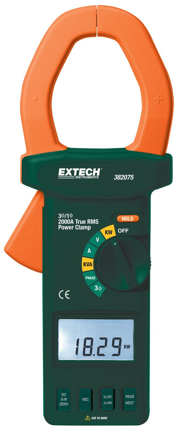 Extech 382075 True RMS 2000A AC/DC 3-Phase Clamp-on Power Analyzer
