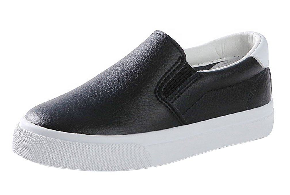 iDuoDuo Boys Girls Soft Breathable Flat Leisure Shoes Slip on Leather Flats Black 2.5 M US Little Kid