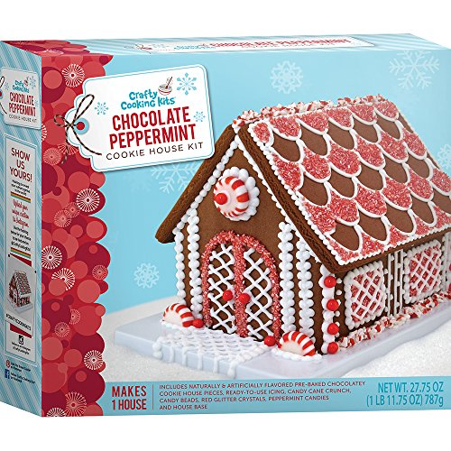 Crafty Cooking Kits Peppermint Cookie House Kit, Chocolate, 27.75 Ounce (Cookie House Kit)