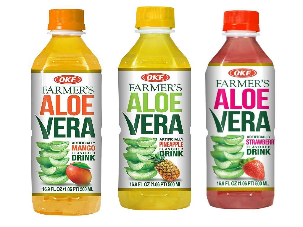 OKF Farmer's Aloe Vera Drink, Mango, Pineapple and Strawberry, 16.9 Fluid Ounce (Pack of 20 each)
