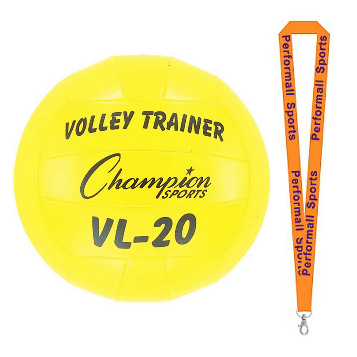 Champion Sports Volleyball Trainer Yellow Bundle with 1 Performall Lanyard VL20-1P