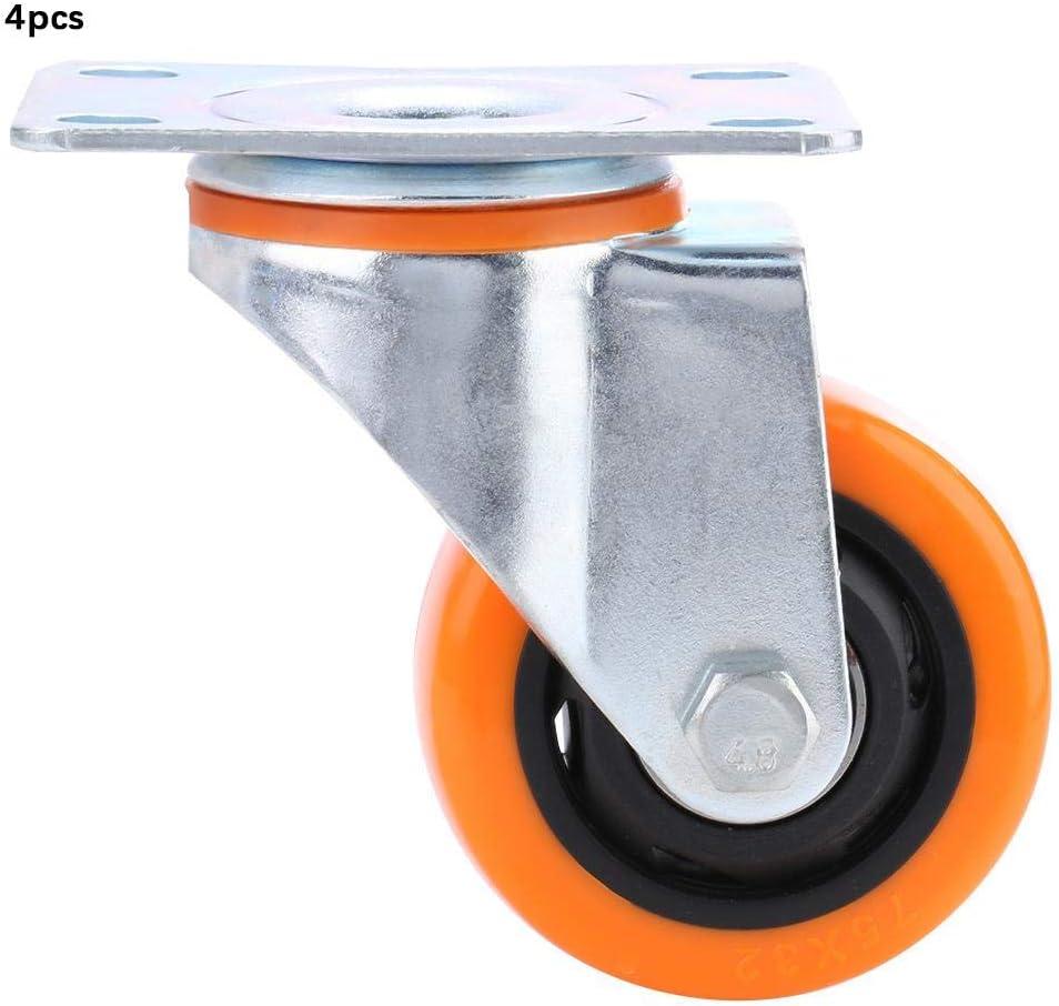 4 Piezas 7.5cm / 3 Pulgadas Material de PVC Rueda de Flor de Paso de luz 360 ° Universal Giratorio Naranja