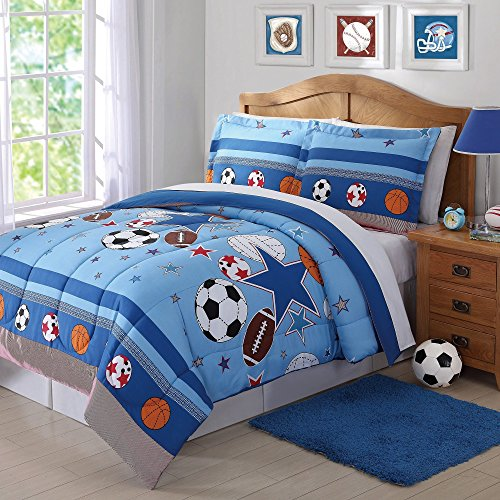 3 Piece Boys Blue Sports Star Comforter Full Queen Set, All Over Sport Stars Balls Bedding, Fun Multi Football Soccer Soccerball Volleyball Basketball Themed Pattern, Red Orange Navy Black White Brown Queen Sports Comforter