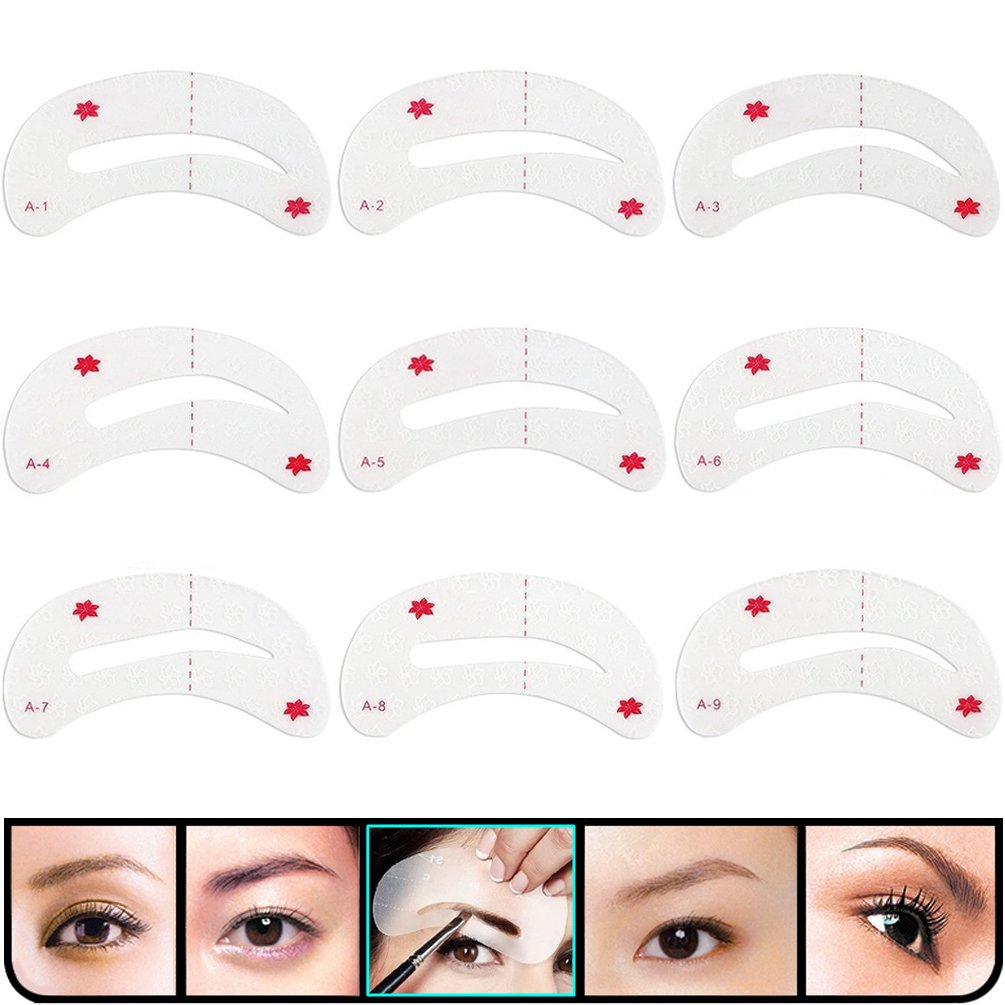 Kingmas 24 Pcs Eyebrow Stencils Reusable Eyebrow Drawing Guide Card