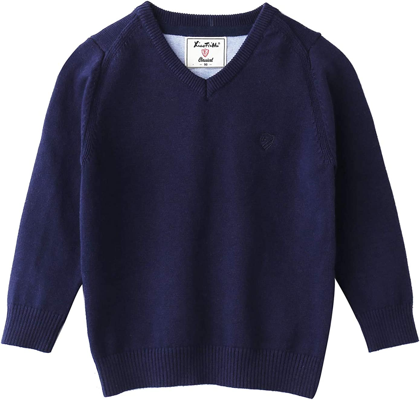 Orchid/_11 Baby Boys Sweaters V Neck Long Sleeve Solid Color Pullover Cotton Knit Sweater