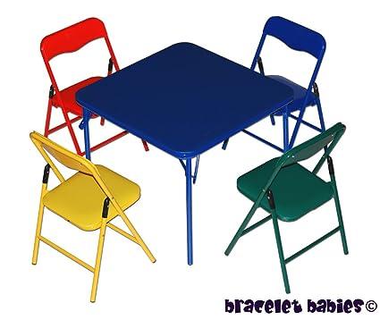 Amazon.com: Children\'s Folding Table & Folding Chairs Furniture Set ...