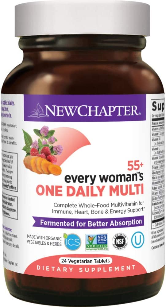 New Chapter Multivitamin for Women 50 Plus - Every Woman's One Daily 55+ with Fermented Probiotics + Whole Foods + Astaxanthin +Organic Non-GMO Ingredients - 24 ct (Packaging May Vary)