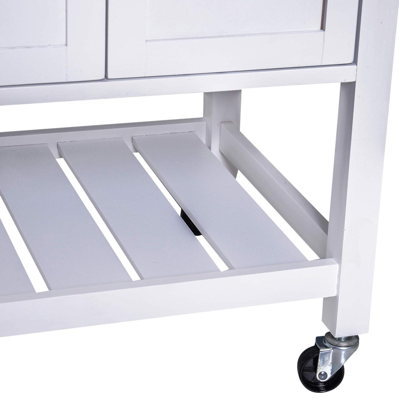 HOMCOM Carrello da Cucina Salvaspazio con Cassetto Porta Asciugamani Ruote in Legno 65x48x90cm