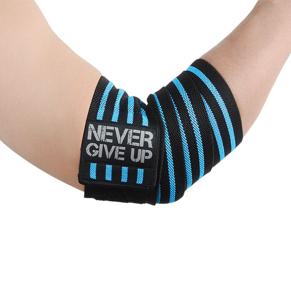 HYFAN Professional Wrist Elbow Knee Wraps Elastic Straps Brace Support Protector for Weightlifting Workout Bodybuilding Gym Fitness (Elbow, Blue)