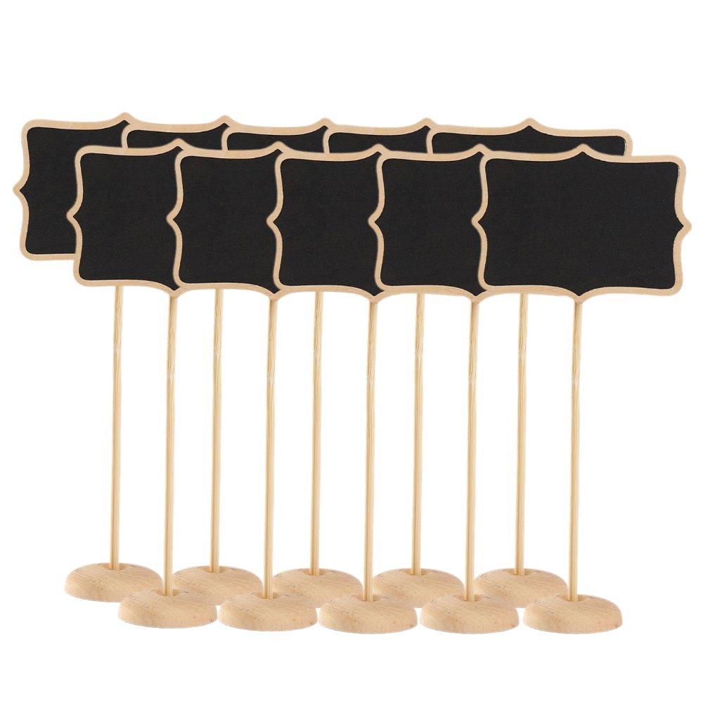 Gosear/® mini tableau noir tableau noir retangle mini tableau noir 10 Pcs Mini tableau bois ardoise chevalet avec Stand et robuste Rectangle de Base /épaisse tableau noir laine mini