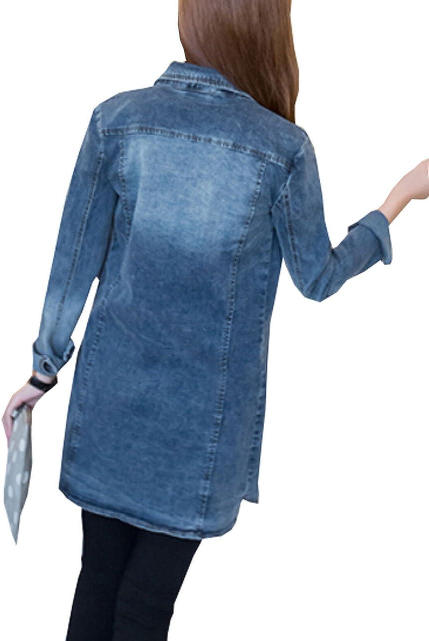 MYtodo Womens Long Denim Jacket Denim Coat Long Sleeves Jean Jacket Outwear